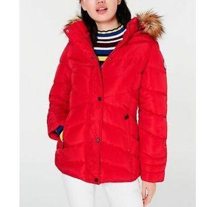Madden Girl Juniors' Hooded Faux-Fur-Trim Puffer